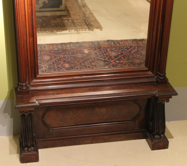 19th Century English Greek Revival Hand Carved Wood Full Length Floor Mirror Galleria Esposito